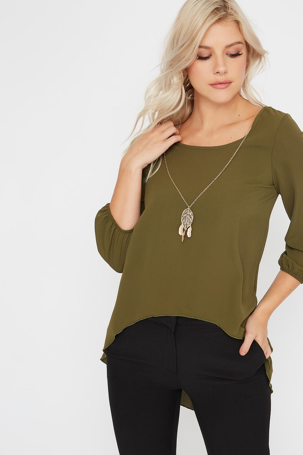 Crepe High-Low Blouse Green