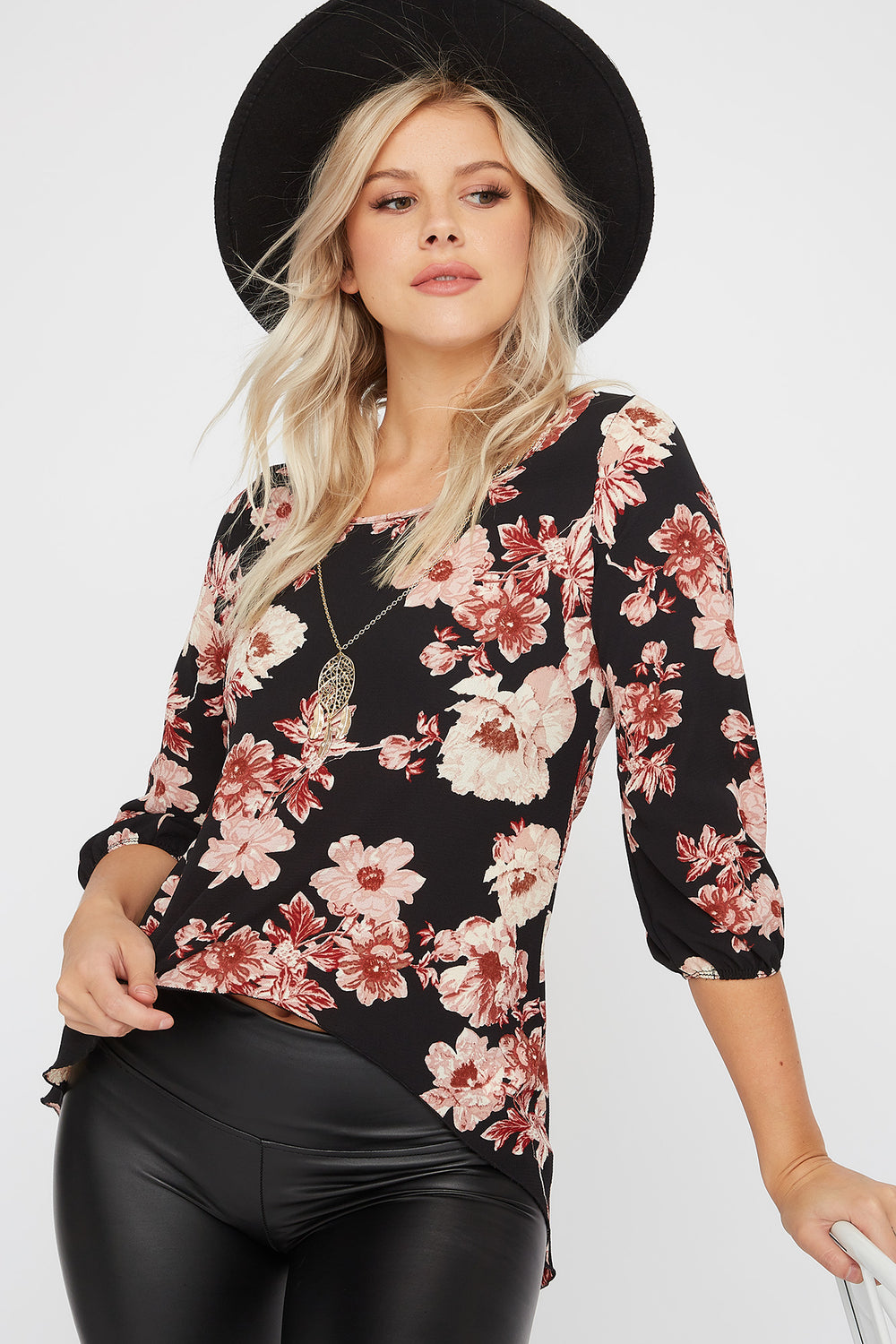 Printed Crepe High-Low Blouse Black