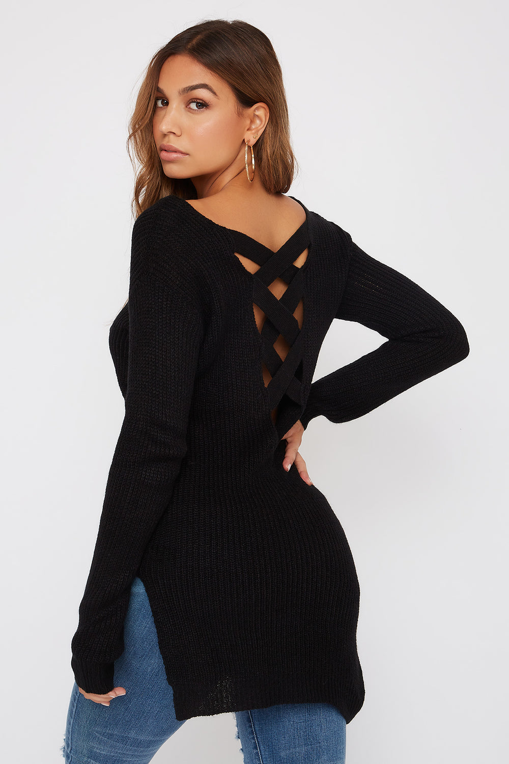 Knit Cross Back Sweater Black