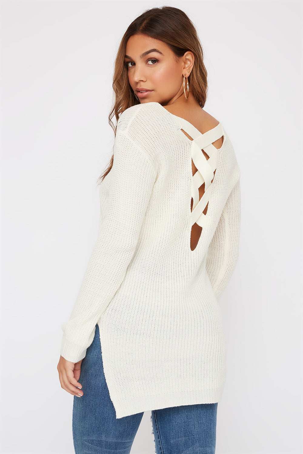 Knit Cross Back Sweater Ivory