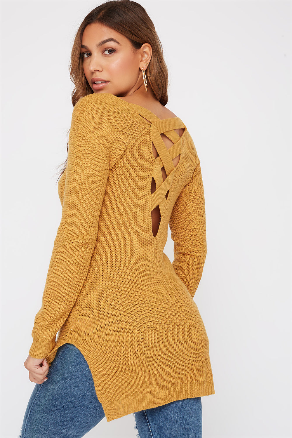 Knit Cross Back Sweater Mustard