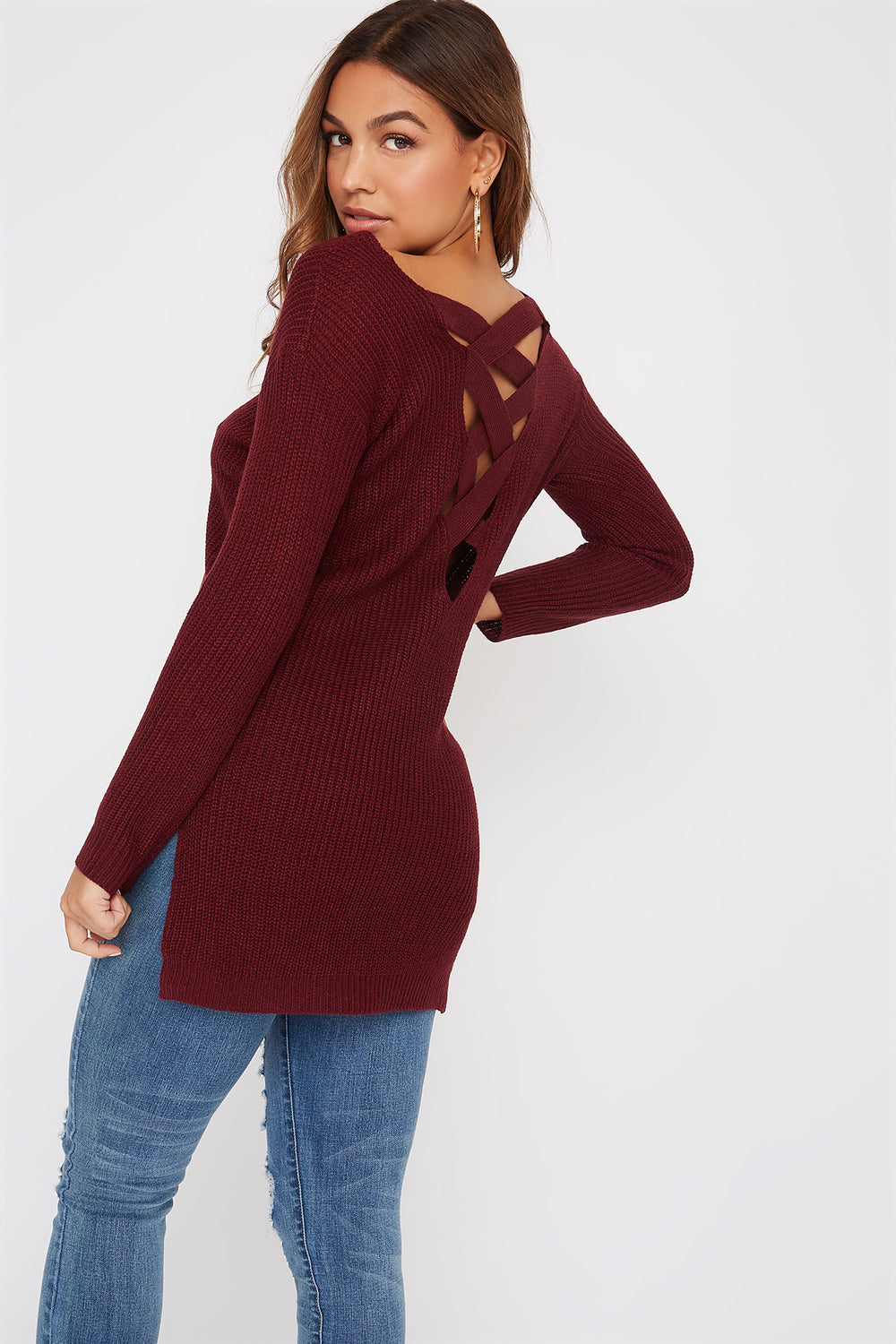 Knit Cross Back Sweater Burgundy