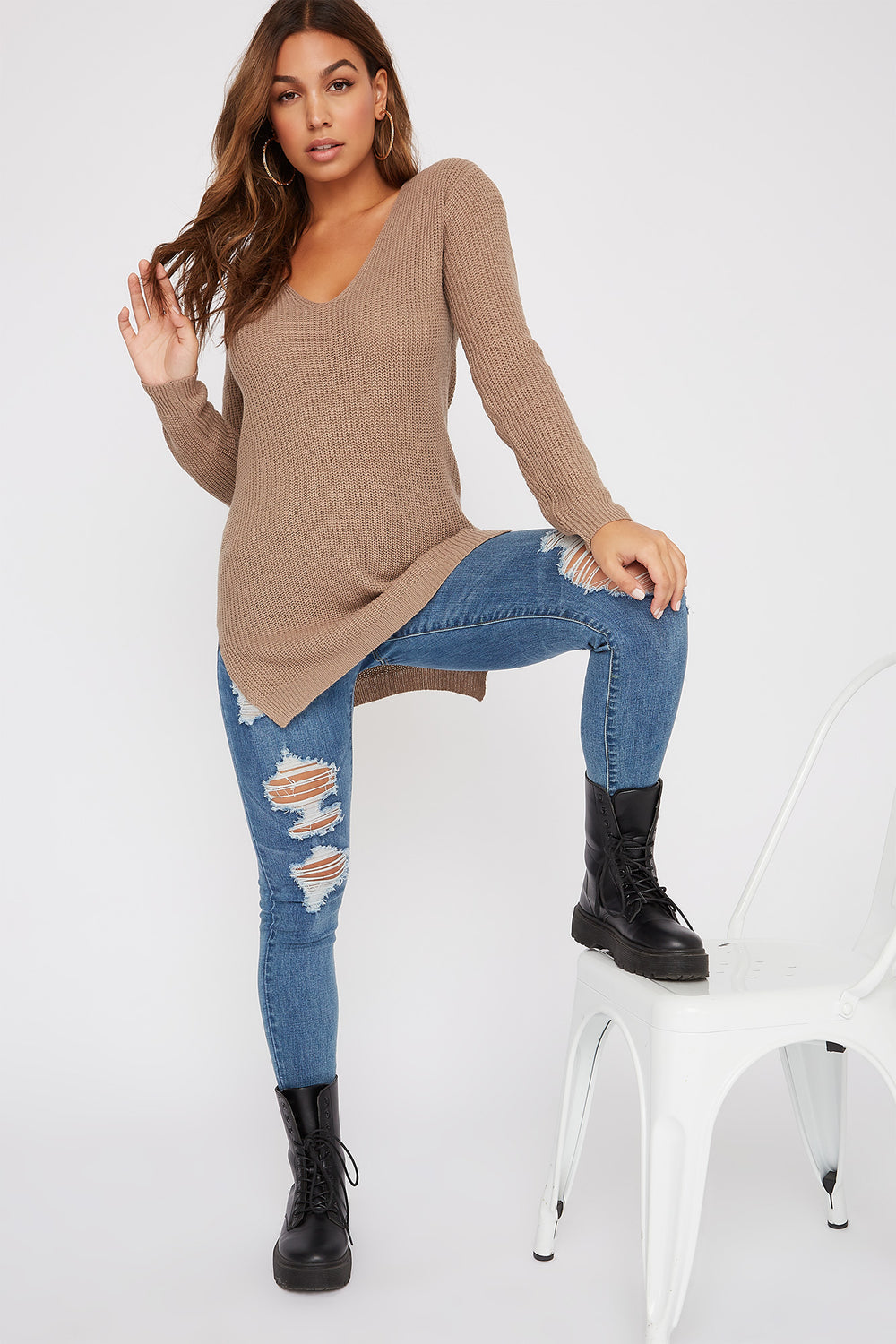 Knit Cross Back Sweater Khaki