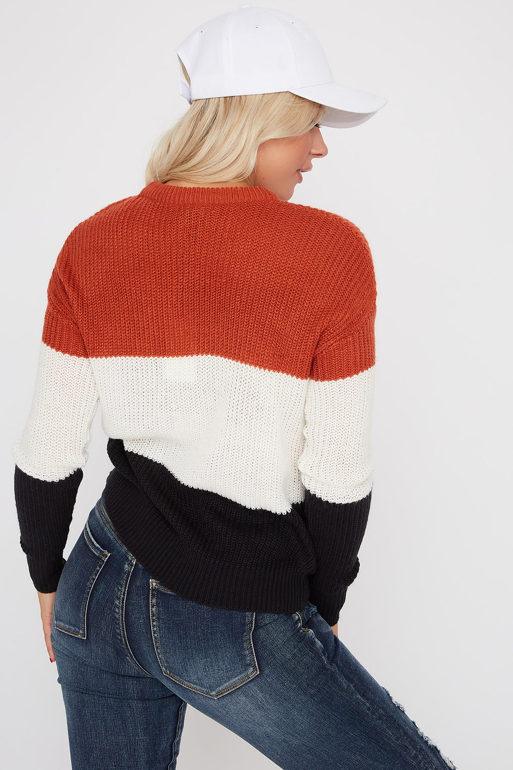 Colour Block Knit Sweater Rust