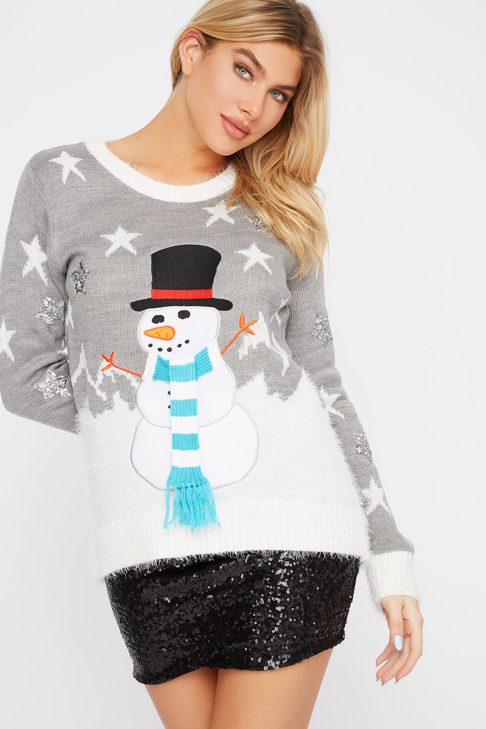 Holiday Snowman Sweater Heather Grey