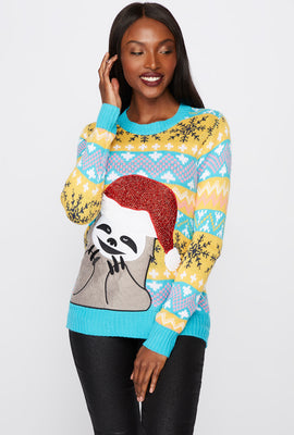 Sloth Santa Ugly Christmas Sweater