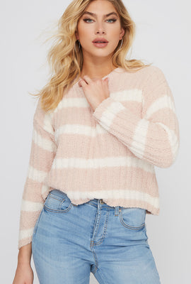 Striped Teddy Ribbed Sweater