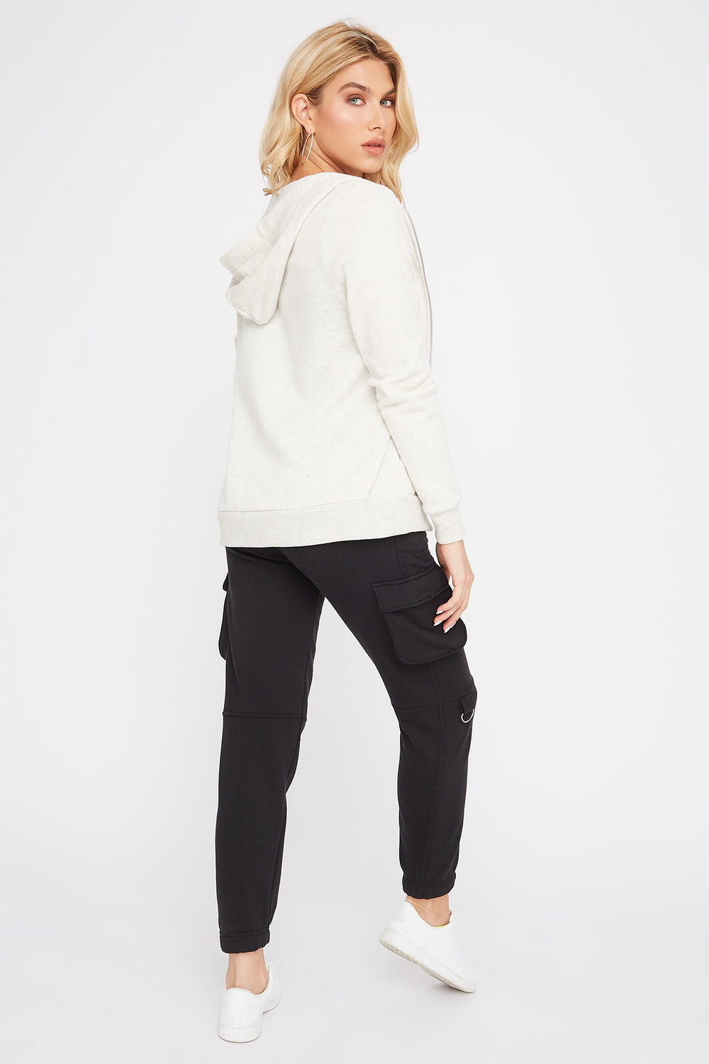 Zip-Up Hooded Sweater Heather Grey