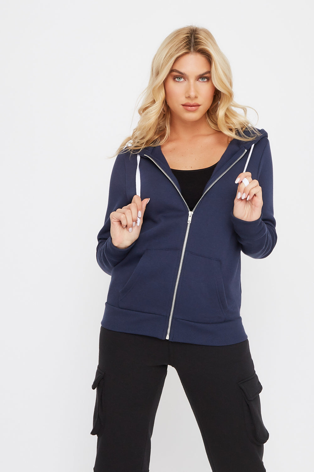 Zip-Up Hooded Sweater Navy