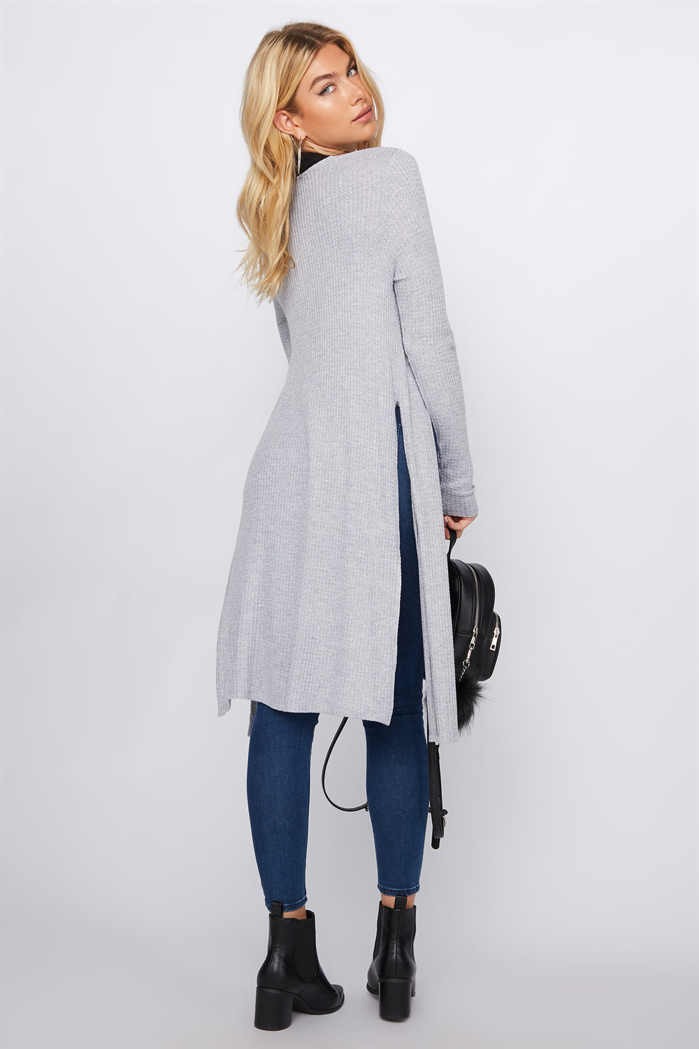 Waffle Longline Slit Cardigan Heather Grey