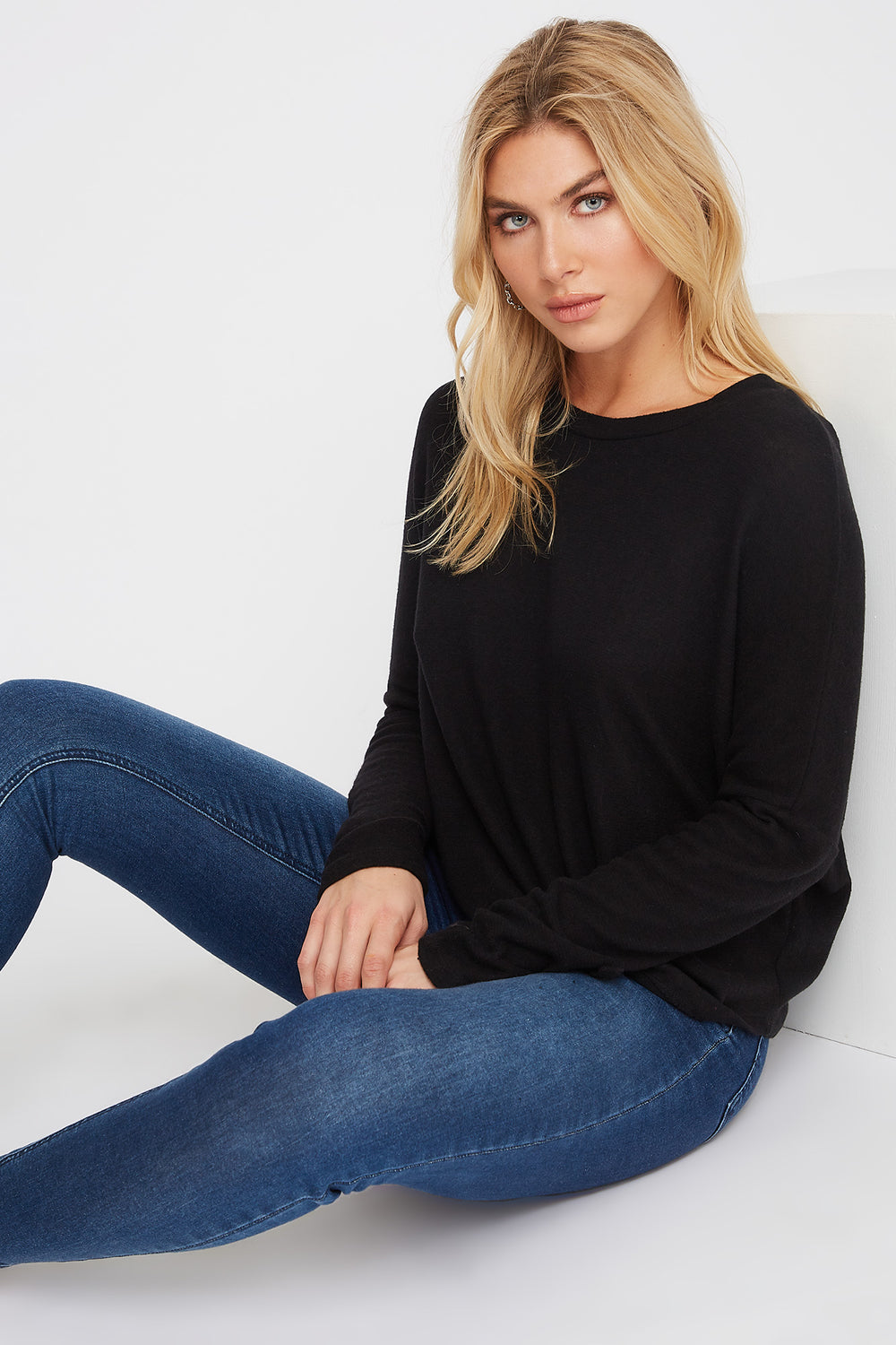 Soft Tie Dolman Long Sleeve Black