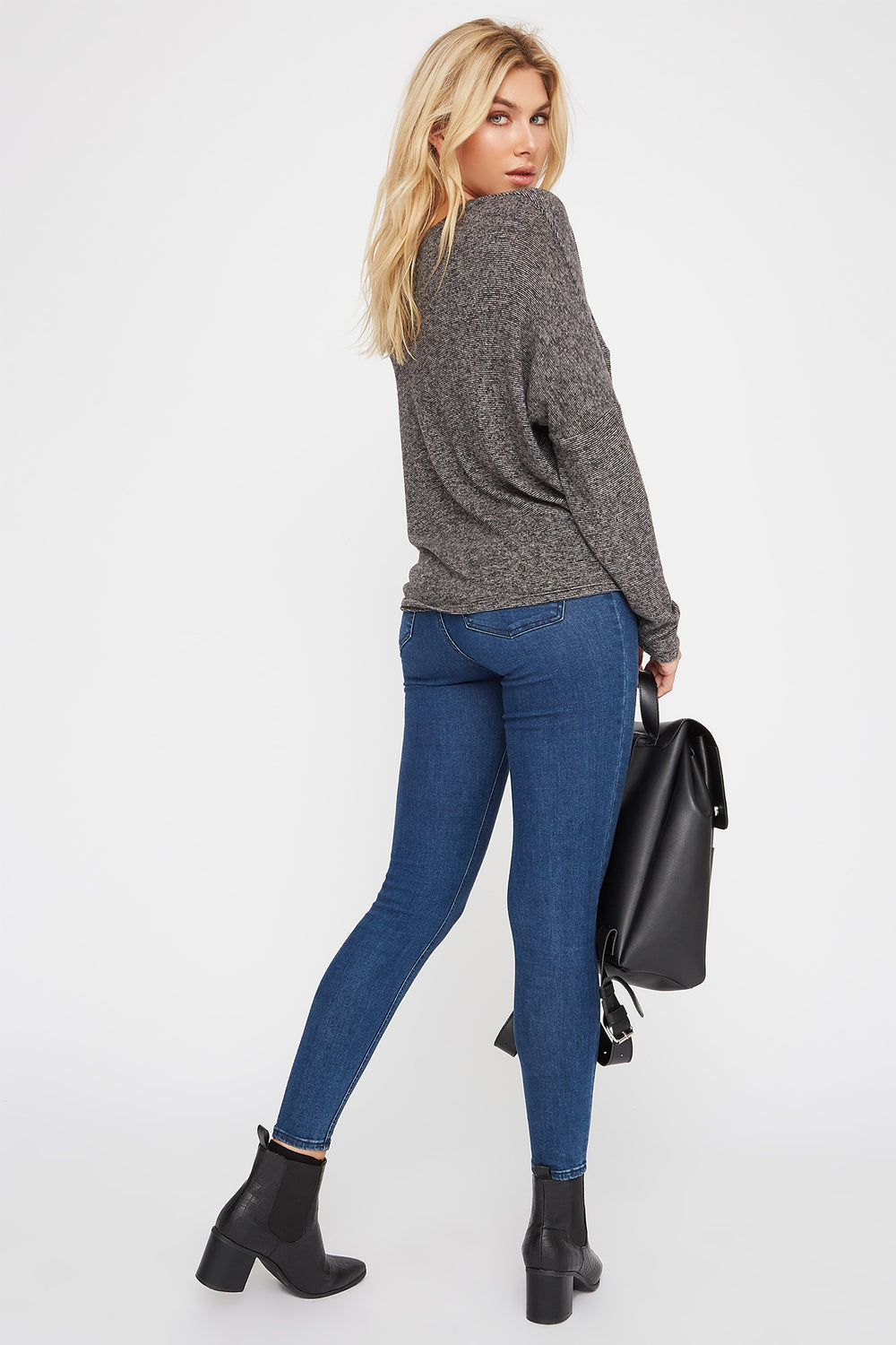 Soft Tie Dolman Long Sleeve Charcoal