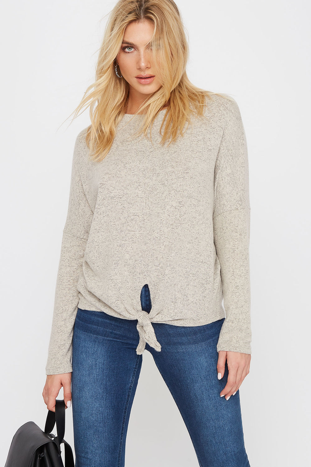 Soft Tie Dolman Long Sleeve Oatmeal