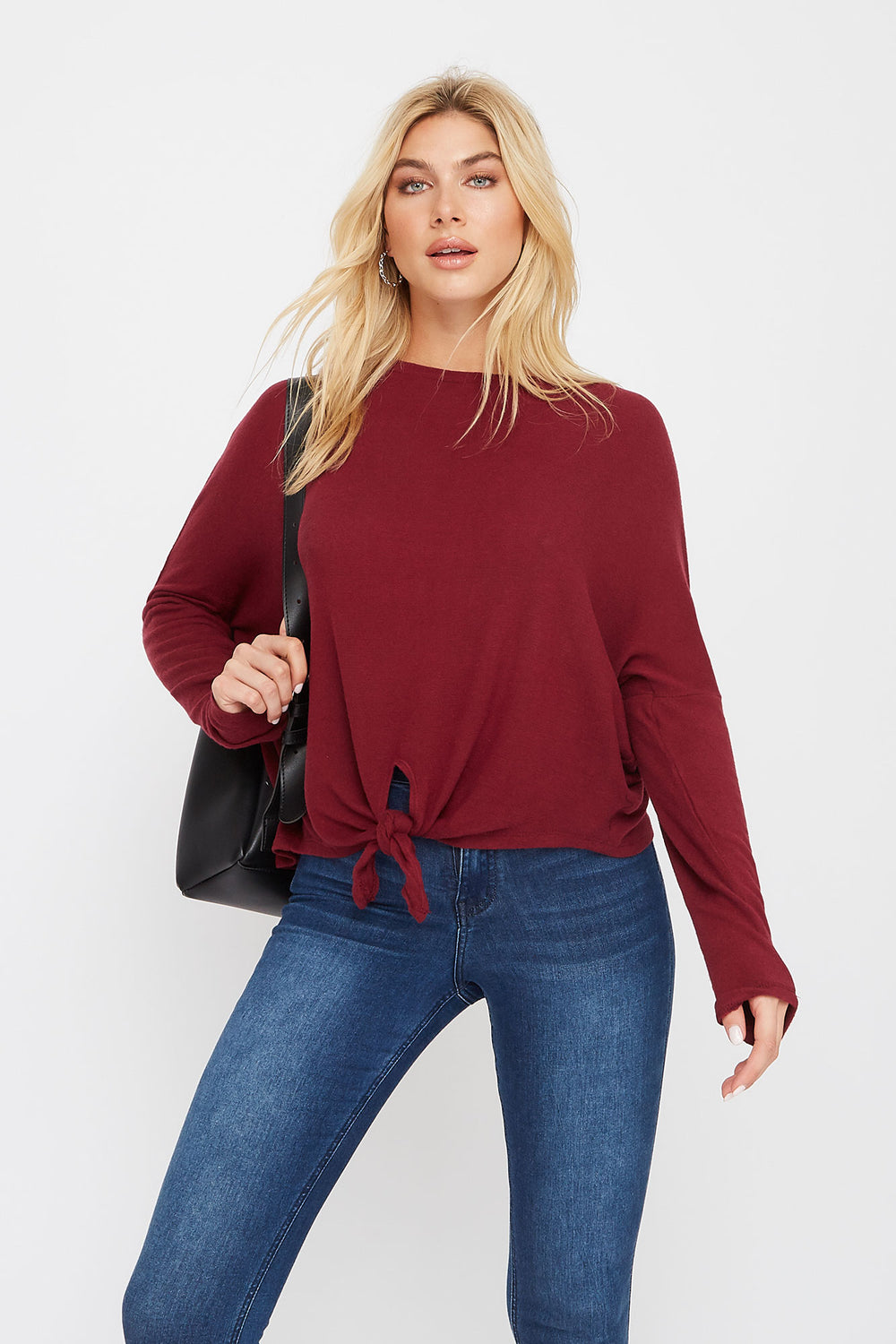 Soft Tie Dolman Long Sleeve Burgundy