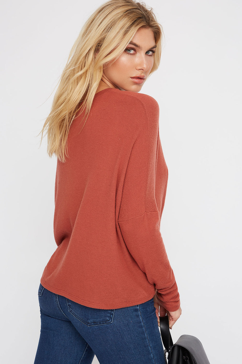 Soft Tie Dolman Long Sleeve Rust