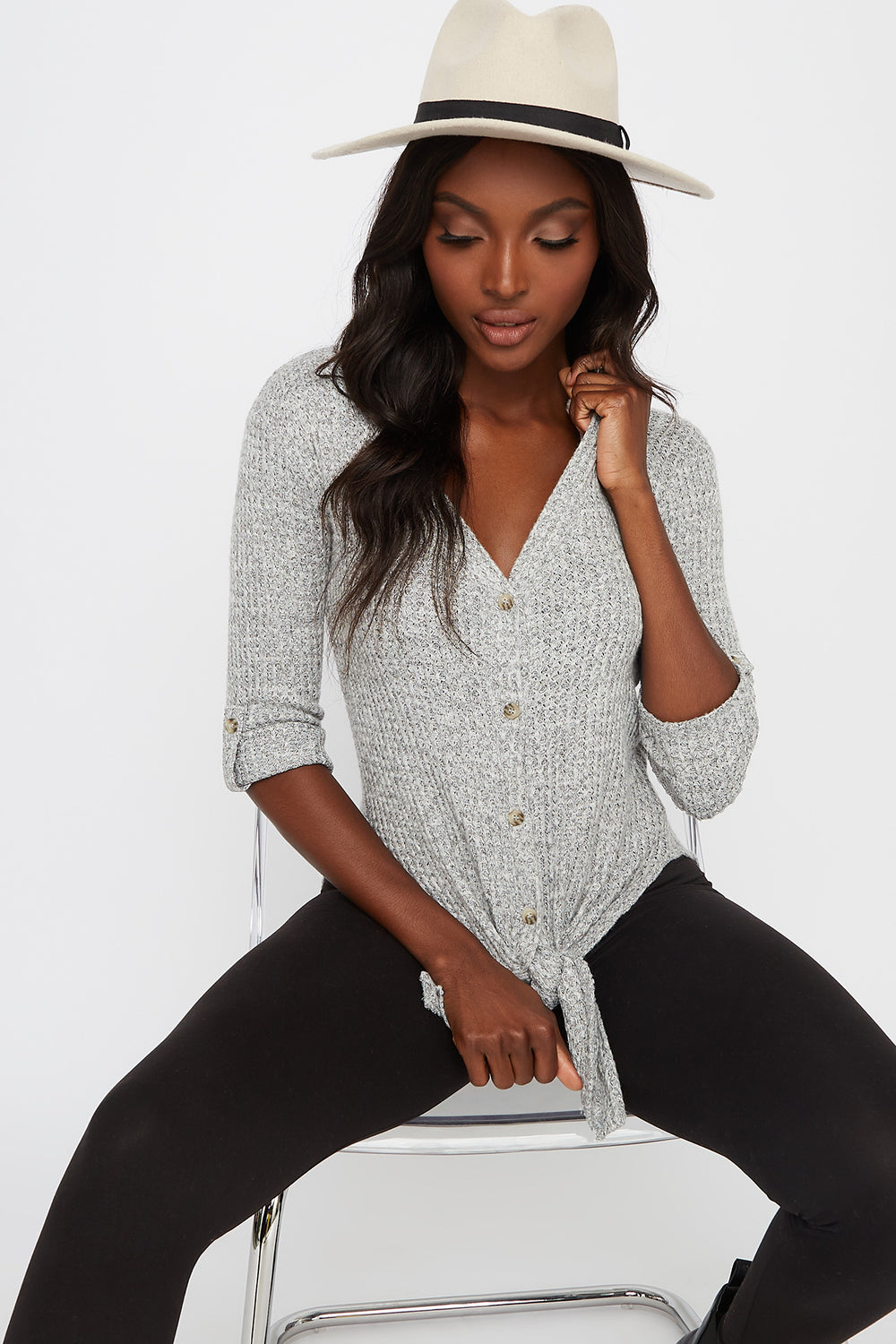Waffle Button-Up Slit Tie Long Sleeve Heather Grey