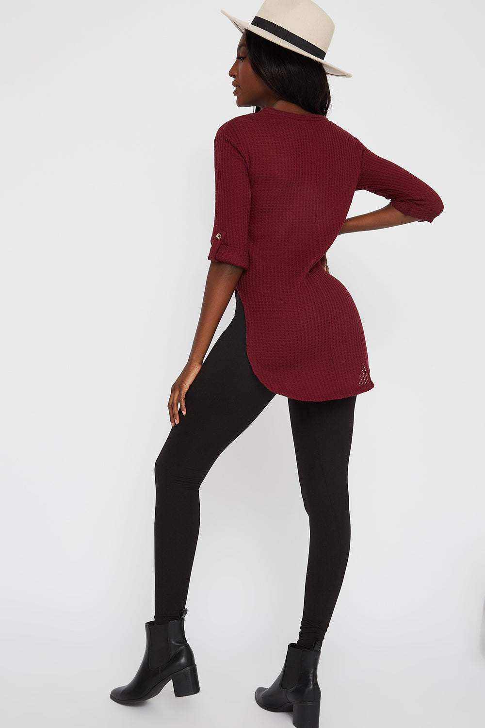 Waffle Button-Up Slit Tie Long Sleeve Burgundy