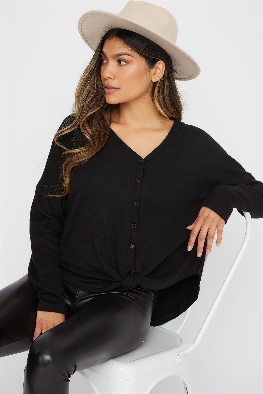 Button-Up Tie Long Sleeve Black
