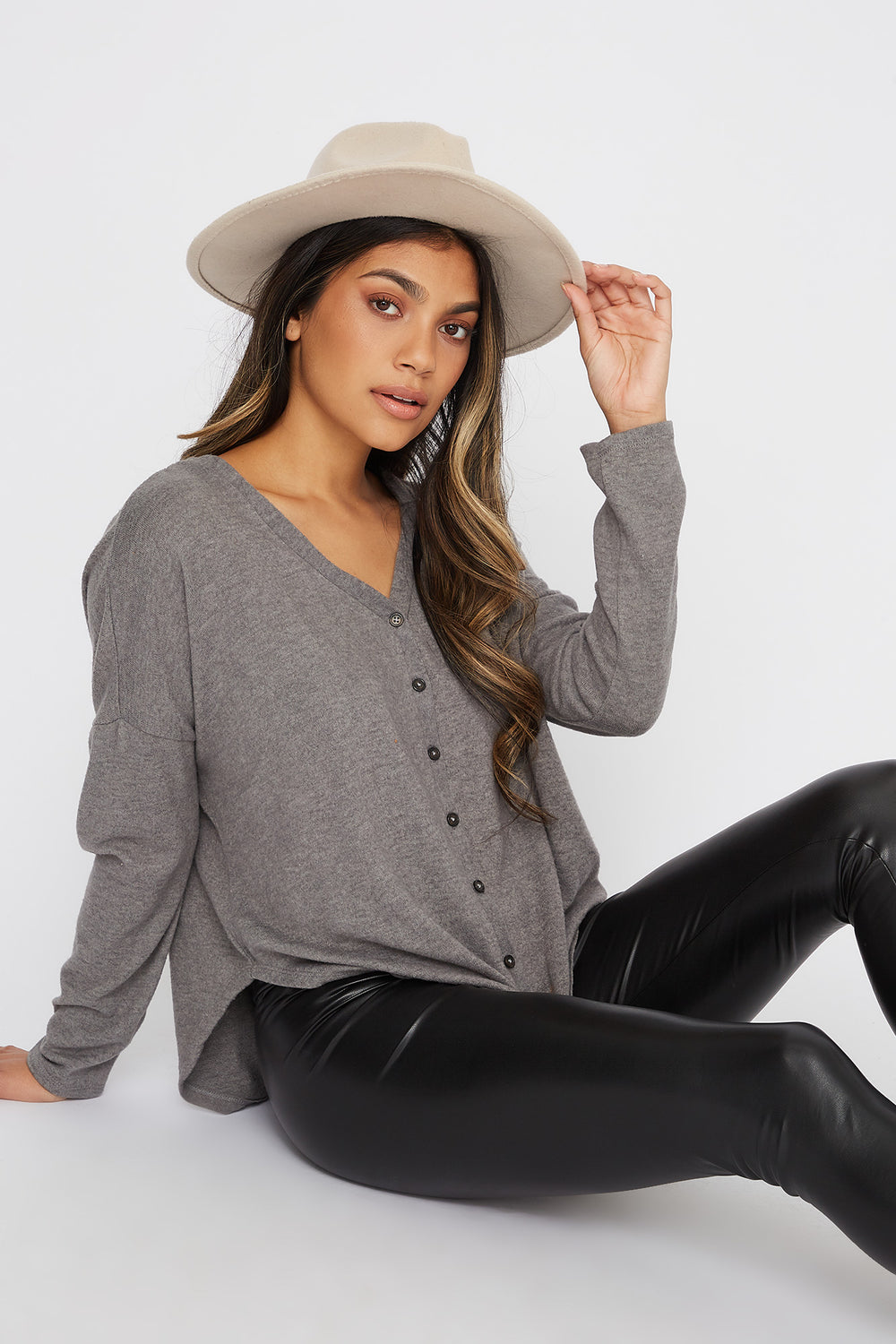 Button-Up Tie Long Sleeve Heather Grey
