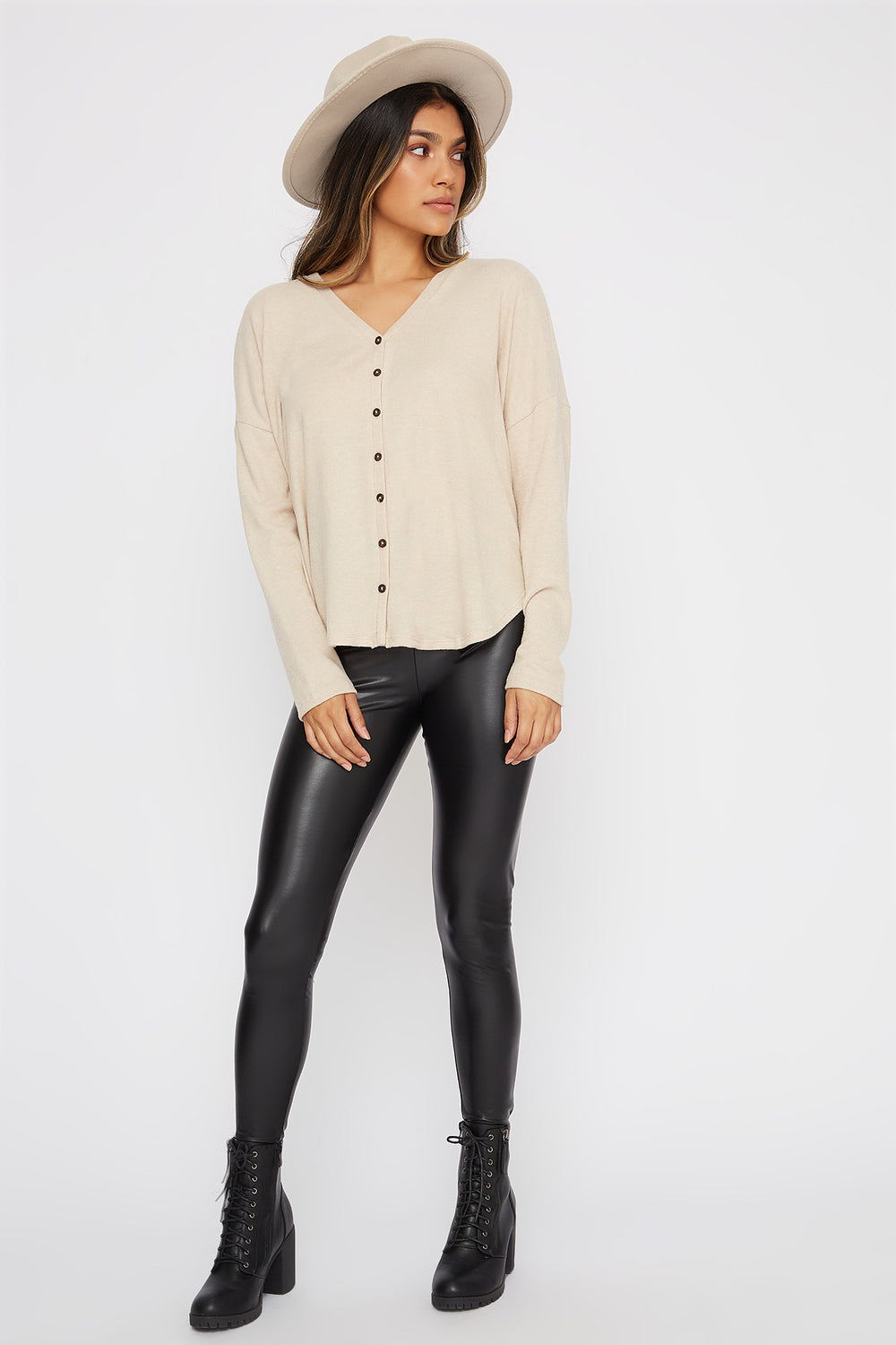 Button-Up Tie Long Sleeve Oatmeal