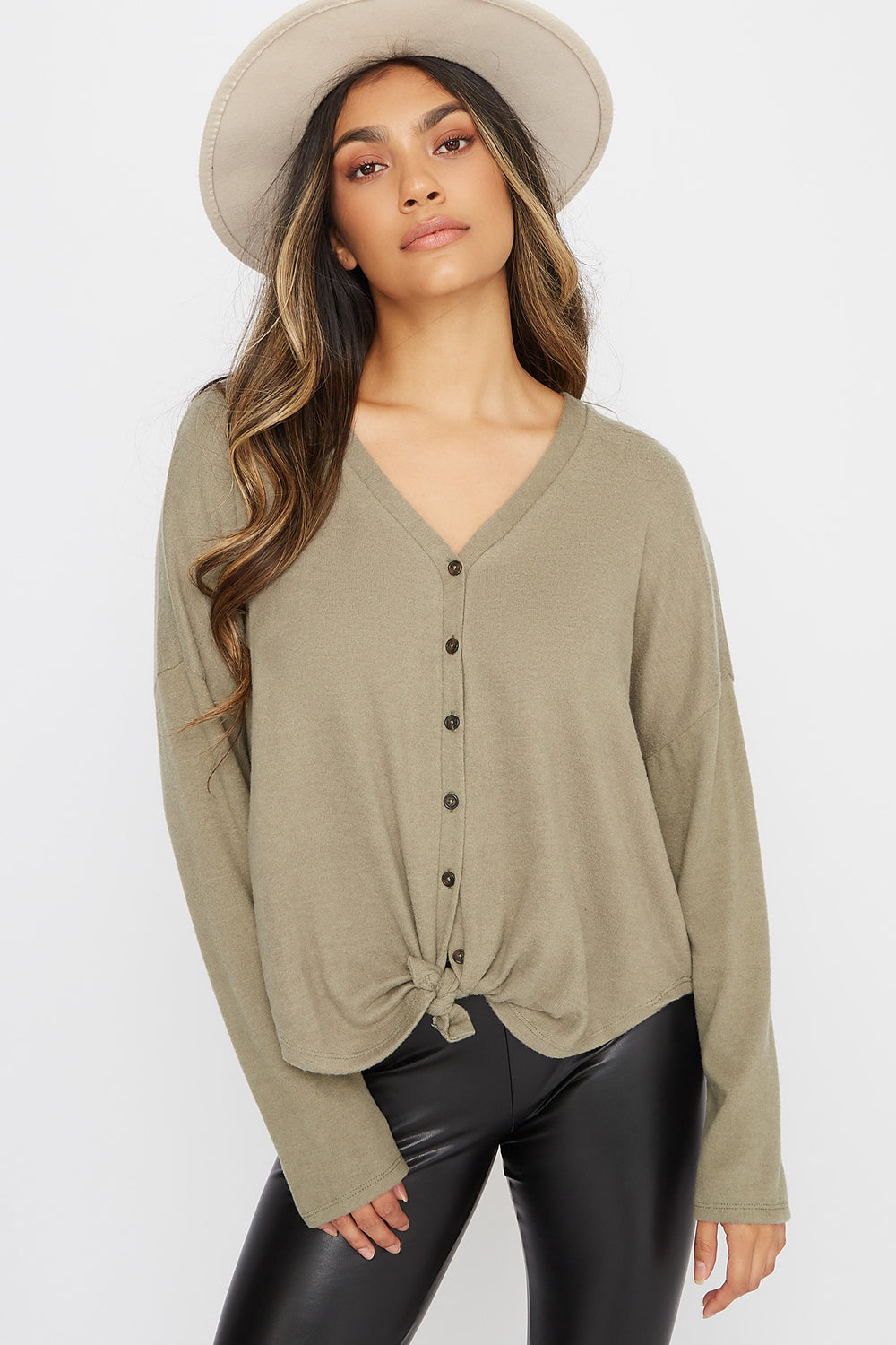 Button-Up Tie Long Sleeve Dark Green