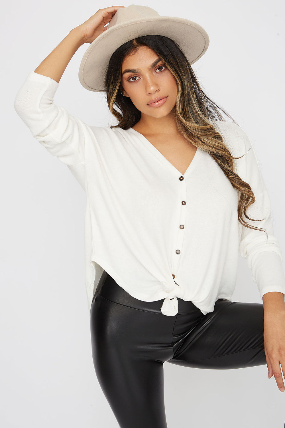 Button-Up Tie Long Sleeve Ivory