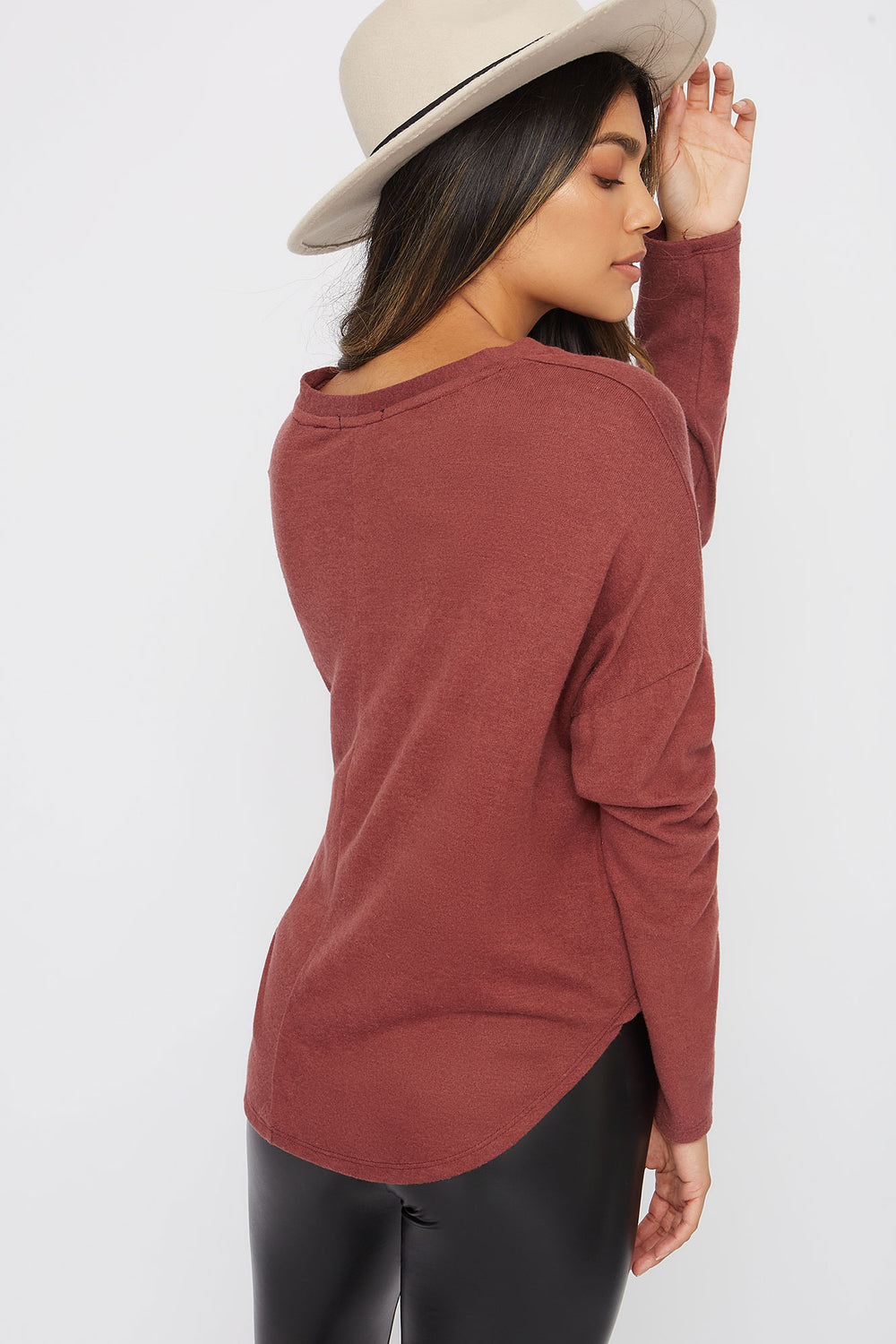 Button-Up Tie Long Sleeve Plum