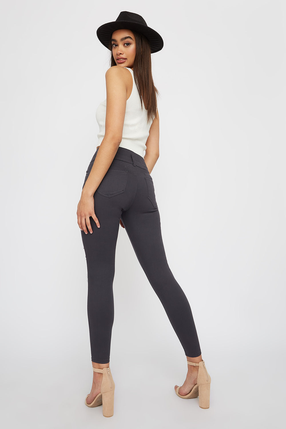 Ibiza 3-Tier Ultra High-Rise Distressed Push-Up Skinny Jean Dark Grey