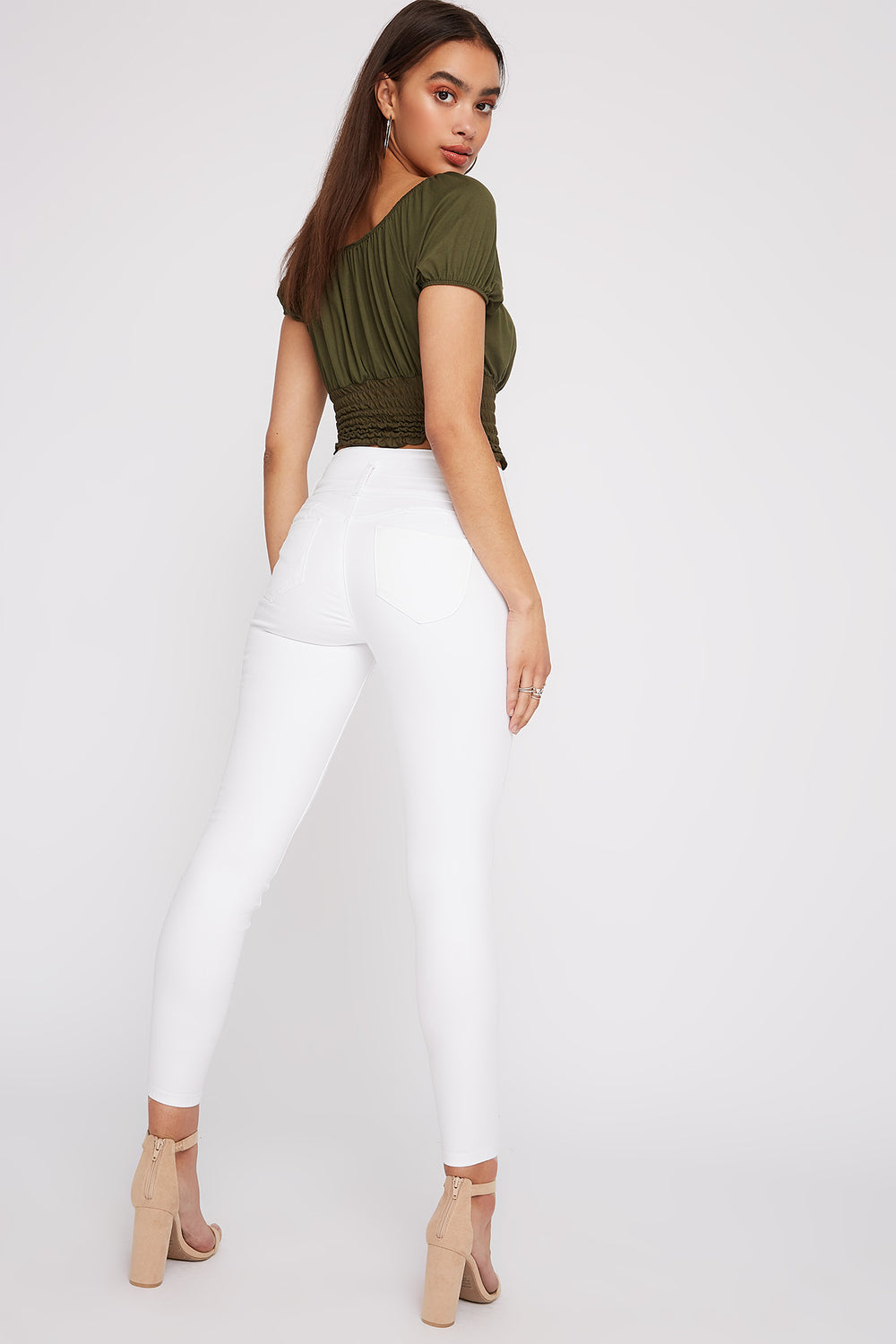 Ibiza 3-Tier Ultra High-Rise Distressed Push-Up Skinny Jean White
