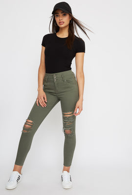 Ibiza 3-Tier Ultra High-Rise Distressed Push-Up Skinny Jean