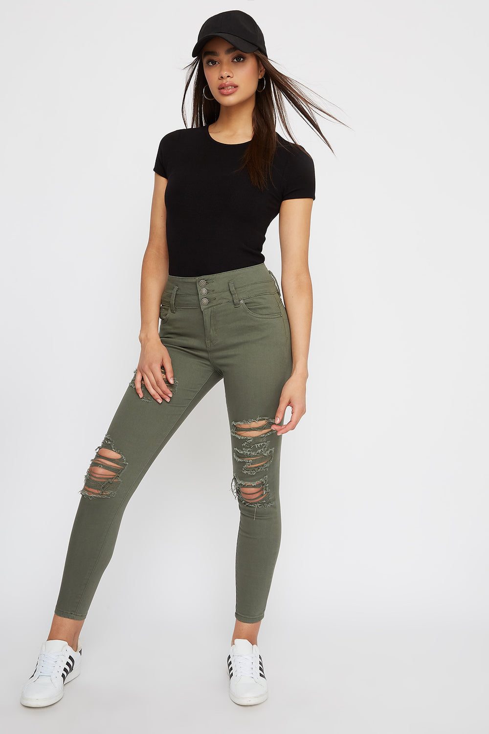 Ibiza 3-Tier Ultra High-Rise Distressed Push-Up Skinny Jean Dark Green