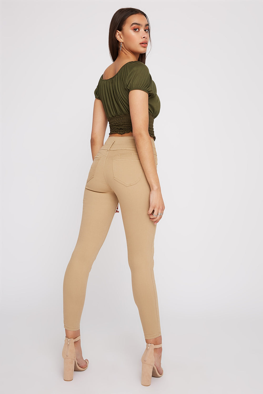 Ibiza 3-Tier Ultra High-Rise Distressed Push-Up Skinny Jean Khaki