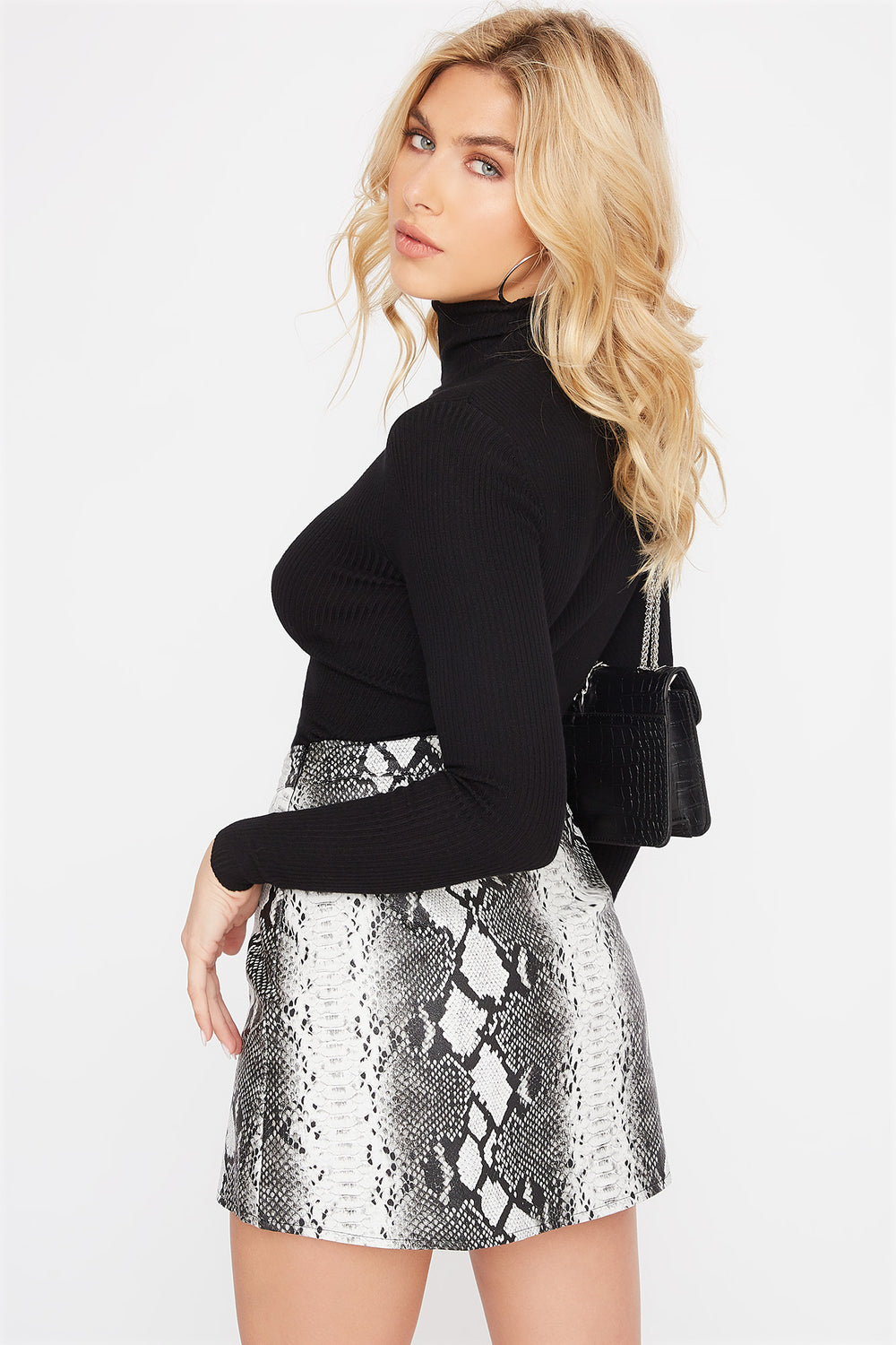 Snake Faux-Leather Mini Skirt Silver