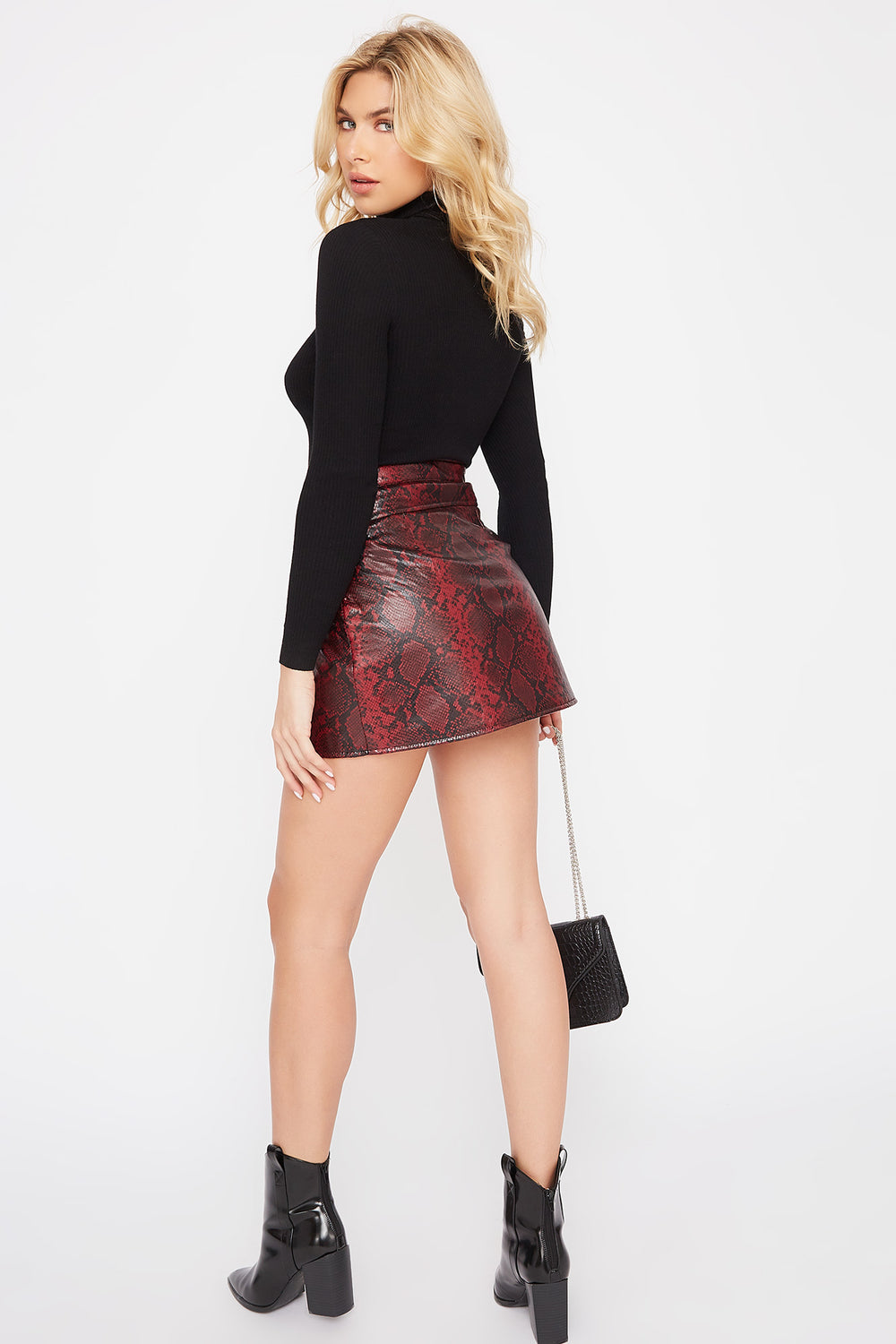 Snake Faux-Leather Mini Skirt Red