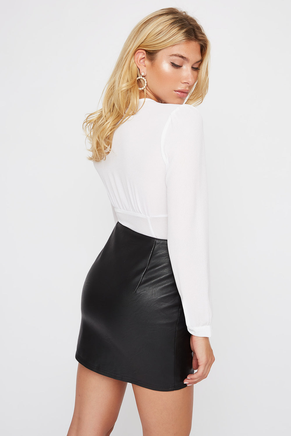 Zip Faux-Leather Mini Skirt Black