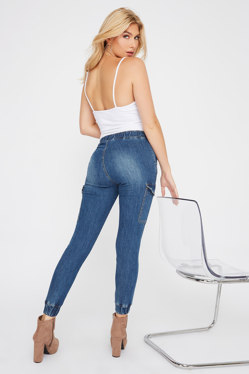 Pantalon de jogging Cargo en denim Bleu denim