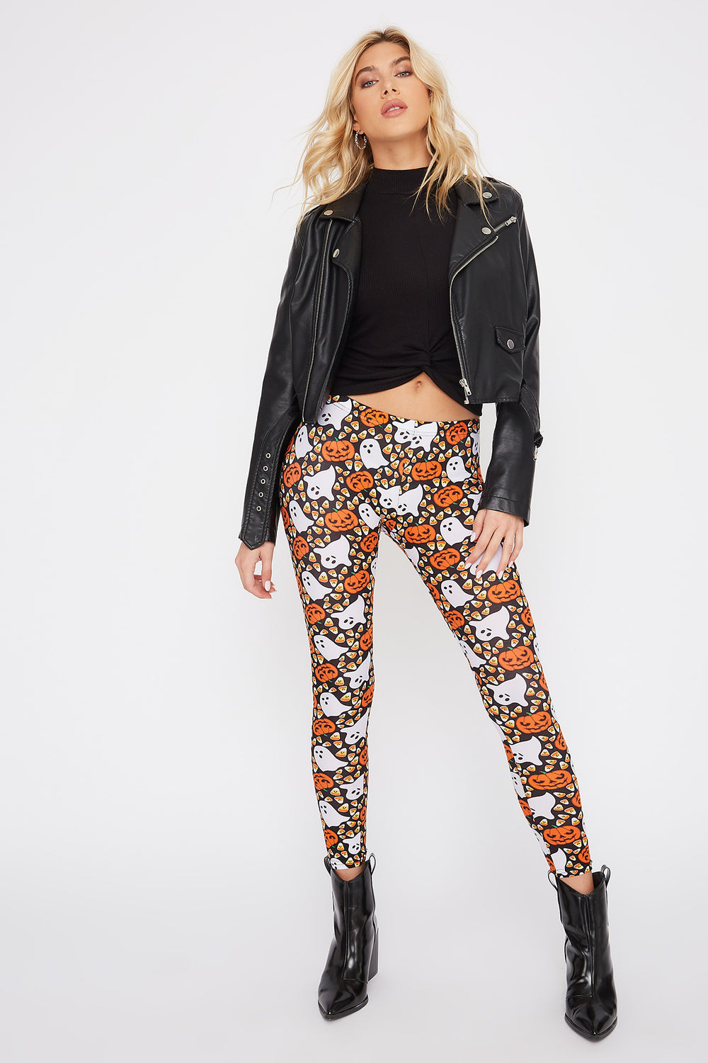 Halloween Candy Corn Legging Black