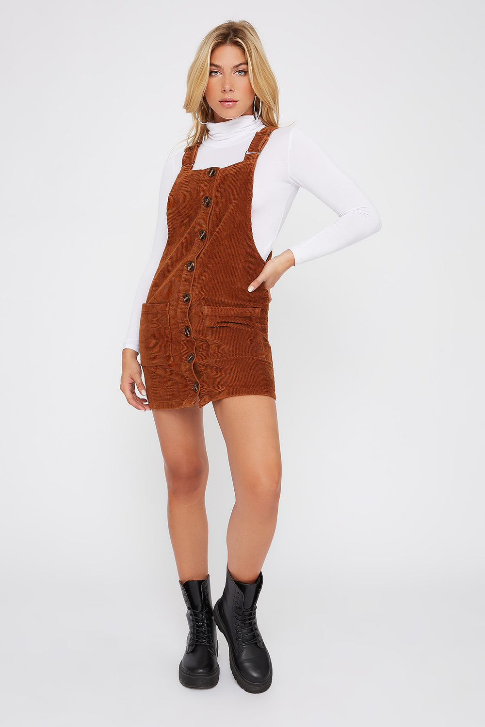 Corduroy Pinafore Mini Dress Brown