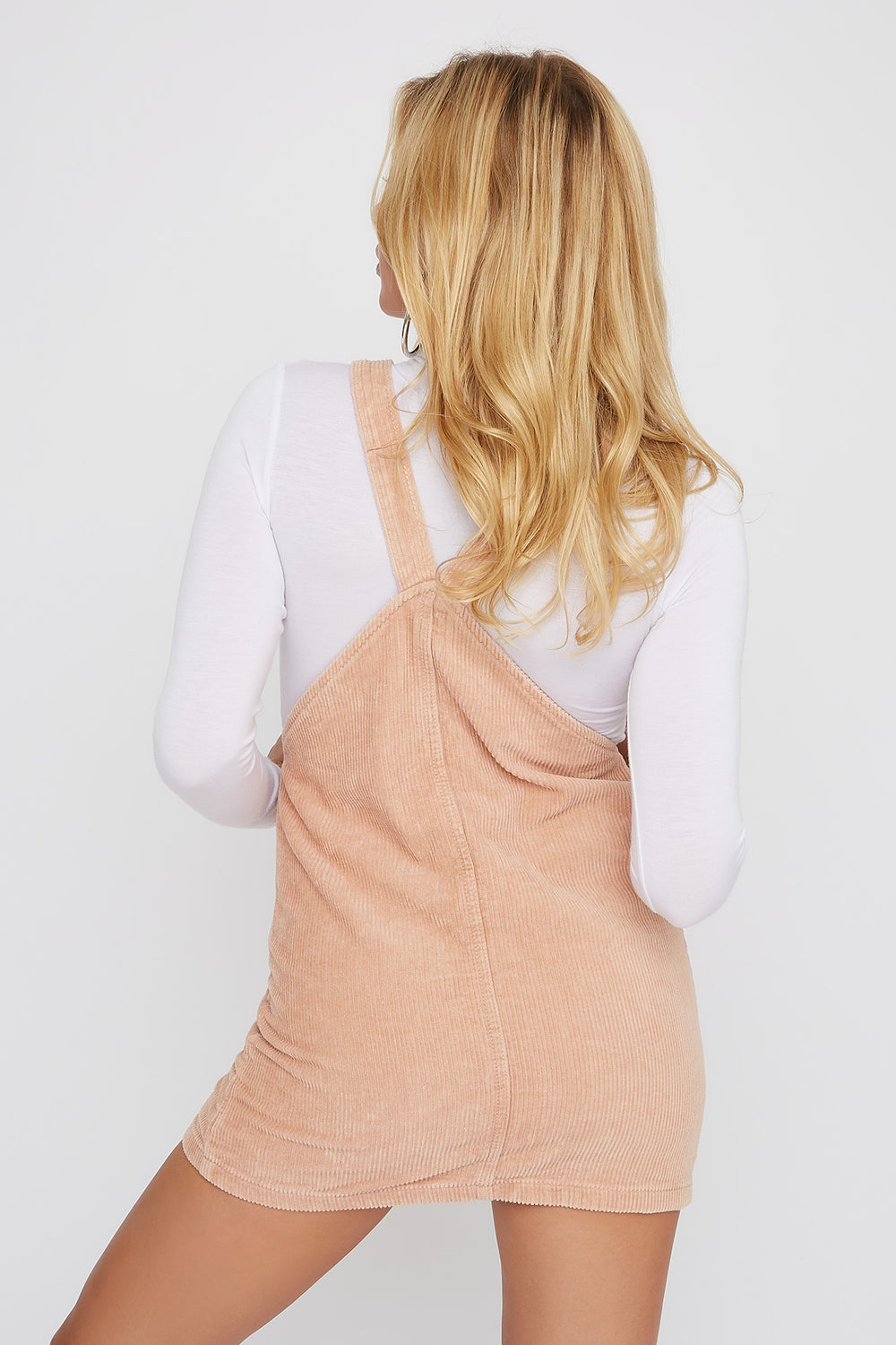 Corduroy Pinafore Mini Dress Pink