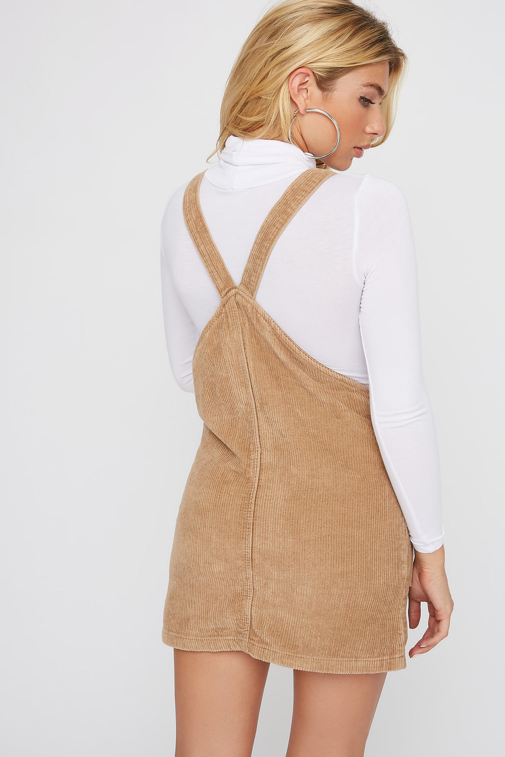 Corduroy Pinafore Mini Dress Khaki