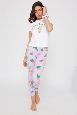 Soft 3-Piece Graphic T-Shirt and Legging Pajama Set with Scrunchies