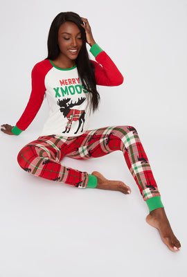 Fammy Jammies 2-Piece Christmas Plaid Moose Pajama Set