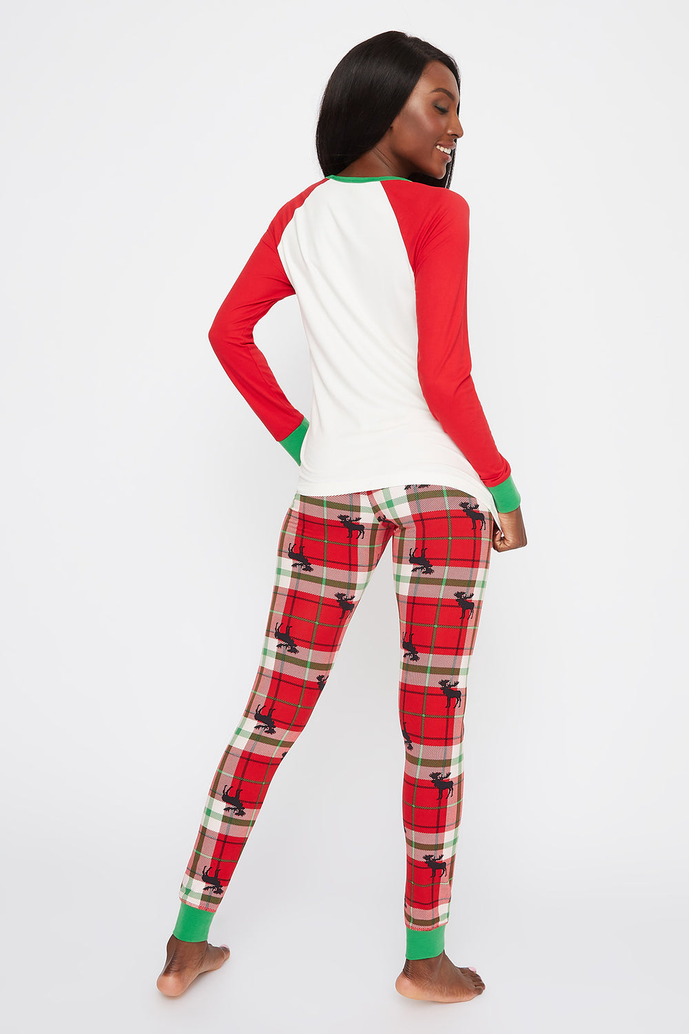 Fammy Jammies 2-Piece Christmas Plaid Moose Pajama Set White