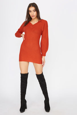 Knit V-Neck Puff Sleeve Mini Dress