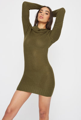 Cowl Neck Knit Sweater Dress