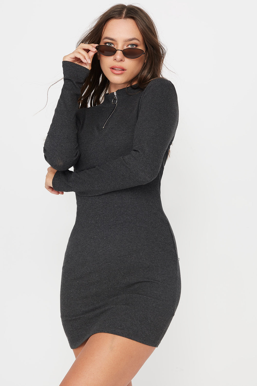 Ribbed Mock Neck Front Zip Mini Dress Charcoal