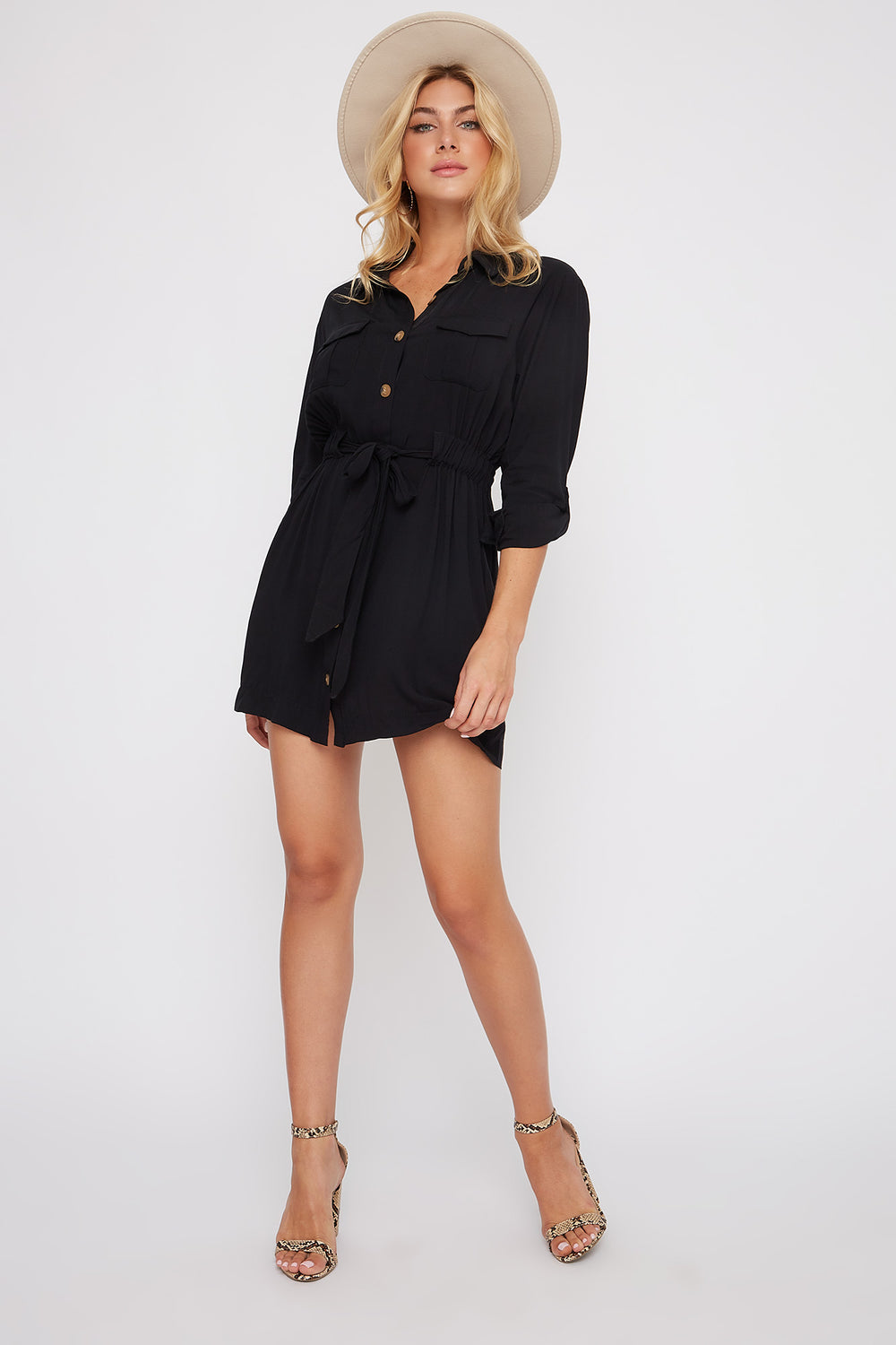 Utility Shirt Dress Black