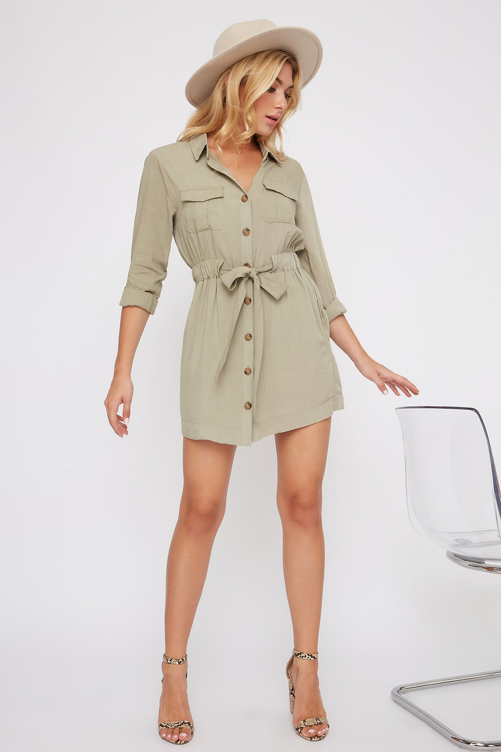 Utility Shirt Dress Dark Green