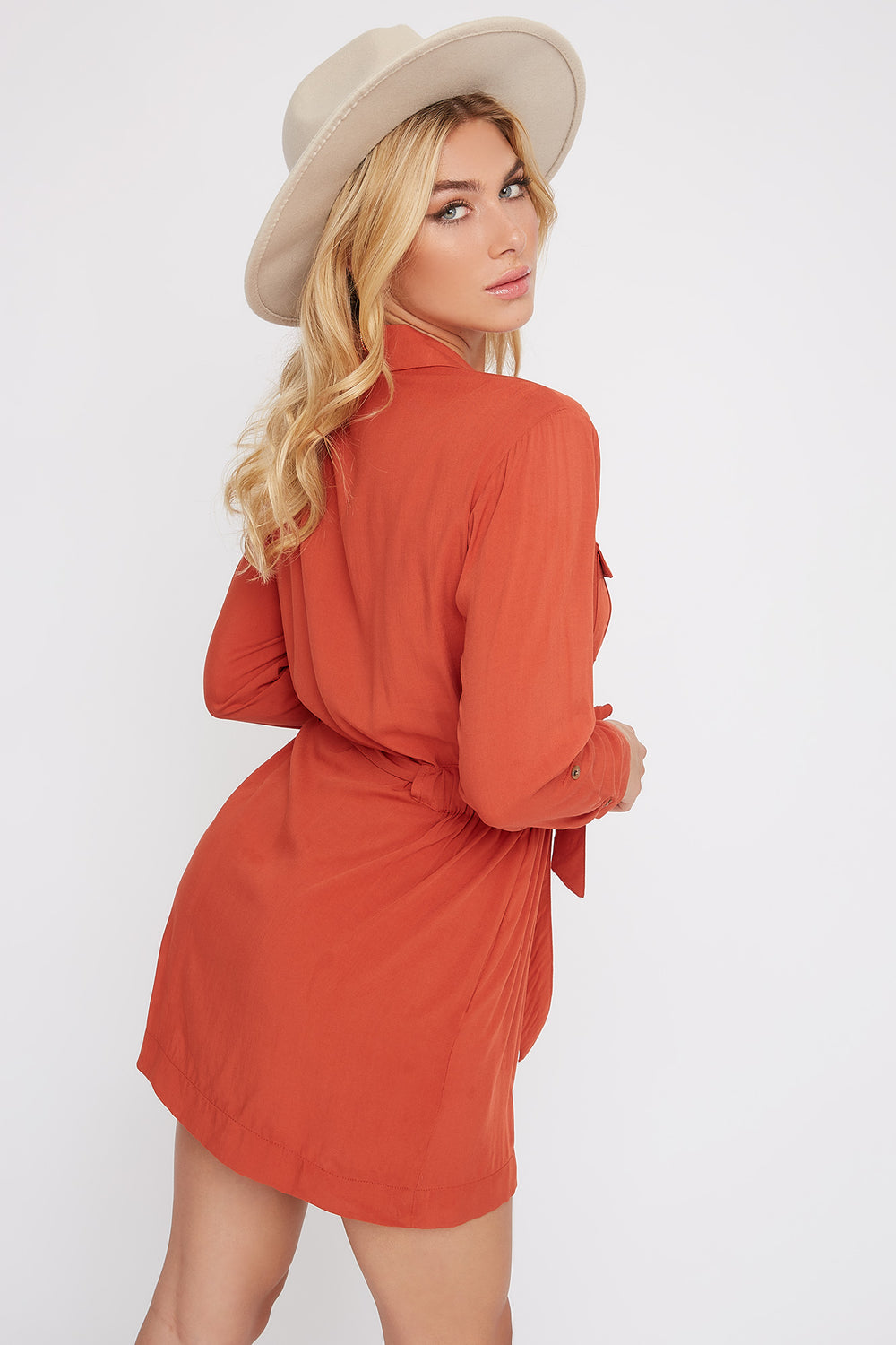 Utility Shirt Dress Red