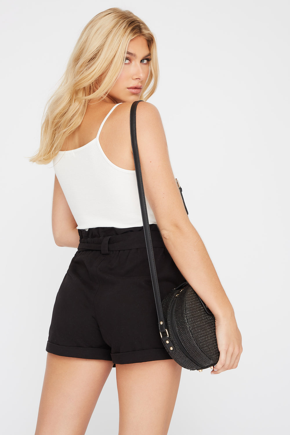 High-Rise Paperbag Short Black